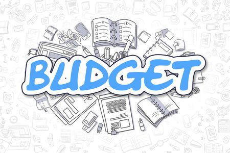 current account: Blue Inscription - Budget. Business Concept with Doodle Icons. Budget - Hand Drawn Illustration for Web Banners and Printed Materials.