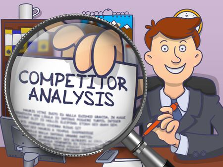 competitor: Competitor Analysis on Paper in Officemans Hand to Illustrate a Business Concept. Closeup View through Magnifier. Colored Modern Line Illustration in Doodle Style.