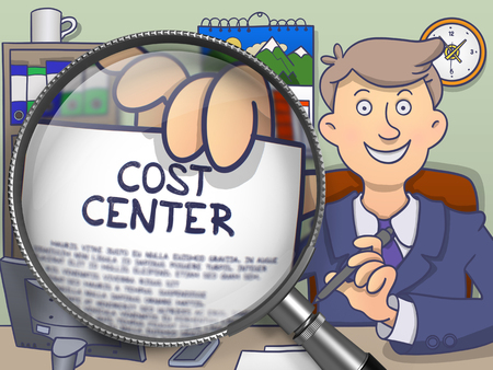 finance department: Officeman Showing a Paper with Inscription Cost Center. Closeup View through Magnifying Glass. Multicolor Modern Line Illustration in Doodle Style. Stock Photo