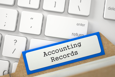 accounting records: Blue Folder Register with Accounting Records Overlies Modern Laptop Keyboard. Close Up View. Selective Focus. 3D Rendering. Foto de archivo