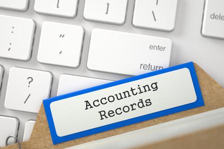 registros contables: Carpeta Azul Registro con registros contables se superpone teclado de ordenador portátil moderno. Cierre de vista. Enfoque selectivo. Representación 3D.
