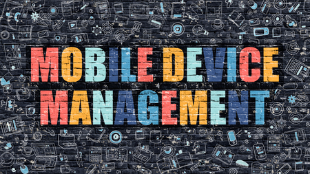 Mobile Device Management Concept. Mobile Device Management Drawn on Dark Wall. Mobile Device Management in Multicolor. Mobile Device Management Concept in Modern Doodle Style. Stock Photo