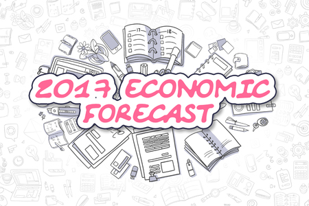 economic forecast: 2017 Economic Forecast - Sketch Business Illustration. Magenta Hand Drawn Text 2017 Economic Forecast Surrounded by Stationery. Doodle Design Elements. Stock Photo