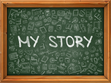 biography: Green Chalkboard with Hand Drawn My Story with Doodle Icons Around. Line Style Illustration.