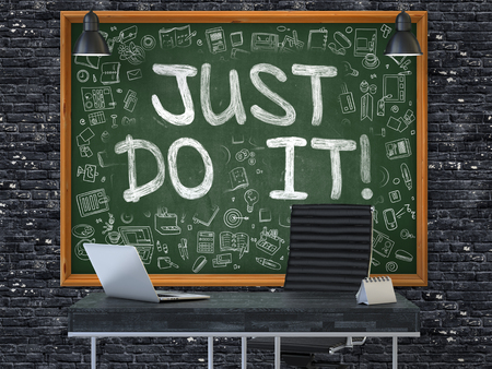 retry: Green Chalkboard with the Text Just Do it Hangs on the Dark Brick Wall in the Interior of a Modern Office. Illustration with Doodle Style Elements. 3D. Stock Photo