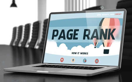 keywords link: Page Rank on Landing Page of Laptop Display. Closeup View. Modern Meeting Room Background. Blurred Image. Selective focus. 3D Rendering.