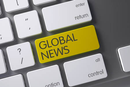 mondial: Global News Concept: Slim Aluminum Keyboard with Global News, Selected Focus on Yellow Enter Keypad. 3D.