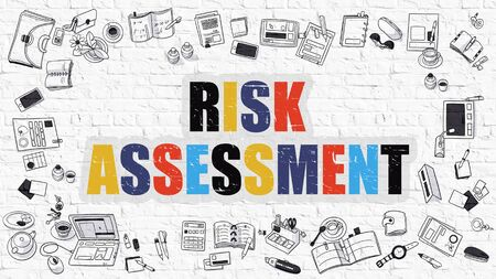 avoidance: Risk Assessment Concept. Modern Line Style Illustation. Multicolor Risk Assessment Drawn on White Brick Wall. Doodle Icons. Doodle Design Style of Risk Assessment  Concept.