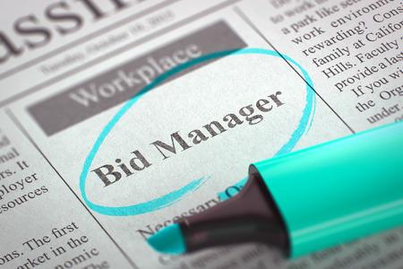 puja: Periódico con anuncios y clasificados Anuncios de Vacante Bid Manager. Imagen borrosa. enfoque selectivo. Búsqueda de empleo Concept. Render 3D.