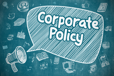 ethic: Corporate Policy on Speech Bubble. Hand Drawn Illustration of Screaming Bullhorn. Advertising Concept. Stock Photo