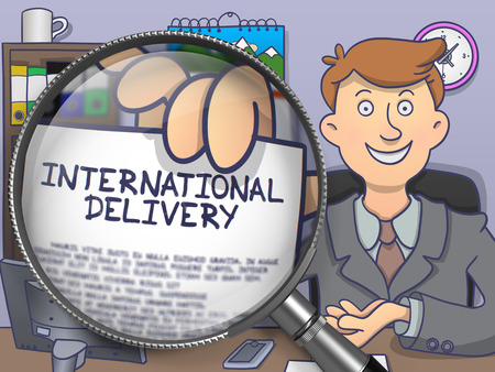 offiice: International Delivery. Successful Businessman Sitting in Offiice and Showing Paper with Inscription through Magnifying Glass. Multicolor Modern Line Illustration in Doodle Style.