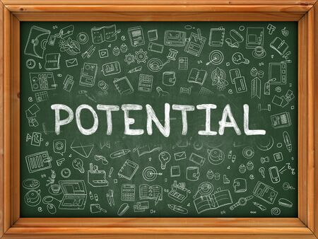 potential: Potential - Hand Drawn on Green Chalkboard with Doodle Icons Around. Modern Illustration with Doodle Design Style.