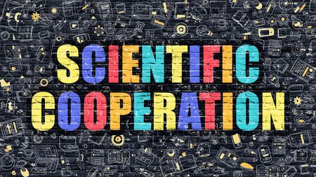 metodo cientifico: Scientific Cooperation Concept. Modern Illustration. Multicolor Scientific Cooperation Drawn on Dark Brick Wall. Doodle Icons. Doodle Style of  Scientific Cooperation Concept.
