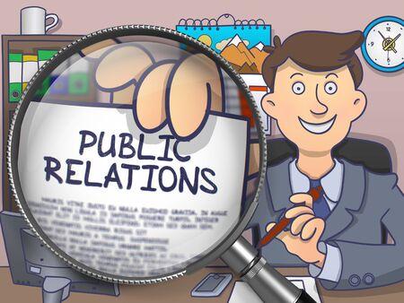 relaciones publicas: Relaciones públicas. Texto en el papel en la mano del hombre a través de la lente. Ilustración de estilo dibujo coloreado.