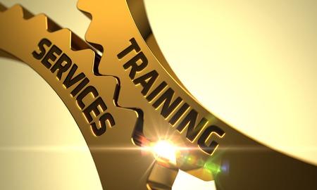apprenticeships: Training Services on the Mechanism of Golden Metallic Cog Gears with Glow Effect. 3D Render.