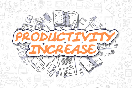 growth enhancement: Productivity Increase Doodle Illustration of Orange Text and Stationery Surrounded by Doodle Icons. Business Concept for Web Banners and Printed Materials.