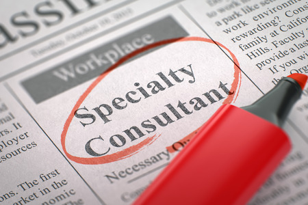 A Newspaper Column in the Classifieds with the Job Vacancy of Specialty Consultant, Circled with a Red Highlighter. Blurred Image. Selective focus. Hiring Concept. 3D. Stock Photo