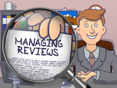 managing: Managing Reviews. Officeman Shows Concept on Paper through Lens. Colored Doodle Style Illustration.