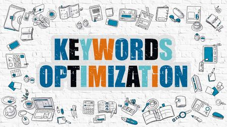 keywords: Keywords Optimization Concept. Keywords Optimization Drawn on White Wall. Keywords Optimization in Multicolor. Doodle Design Style of Keywords Optimization. Line Style Illustration. White Brick Wall.