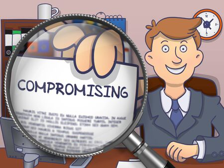 compromising: Compromising. Successful Businessman Welcomes in Office and Holding a Text on Paper through Magnifying Glass. Colored Modern Line Illustration in Doodle Style.