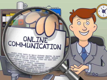 offiice: Online Communication. Officeman Sitting in Offiice and Holding a through Lens Paper with Text. Multicolor Modern Line Illustration in Doodle Style.