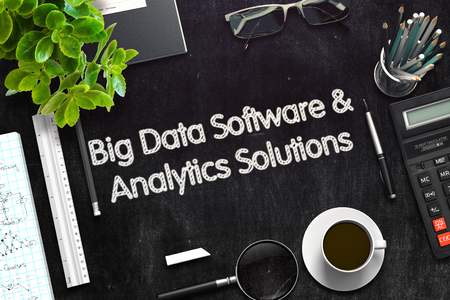 outcomes: Black Chalkboard with Big Data Software and Analytics Solutions Concept. 3d Rendering. Toned Illustration. Stock Photo