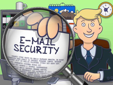 E-Mail Security through Magnifier. Man Showing a Text on Paper. Closeup View. Colored Doodle Style Illustration. Stock Photo