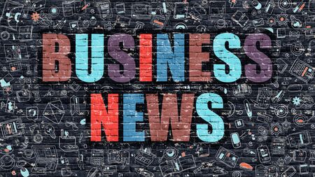 business news: Business News. Multicolor Inscription on Dark Brick Wall with Doodle Icons. Business News Concept in Modern Style. Doodle Design Icons. Business News on Dark Brickwall Background.