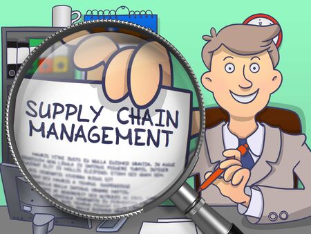 paper chain: Officeman in Office Workplace Showing a Paper with Inscription Supply Chain Management. Closeup View through Lens. Multicolor Doodle Illustration. Stock Photo