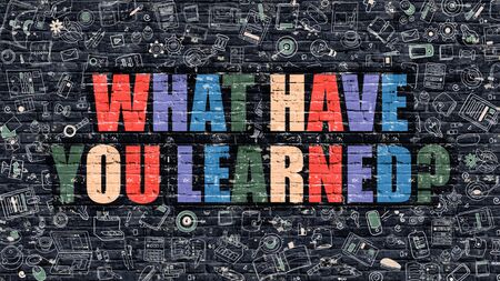 erudite: What Have You Learned - Multicolor Concept on Dark Brick Wall Background with Doodle Icons Around. Illustration with Elements of Doodle Style. What Have You Learned on Dark Wall.