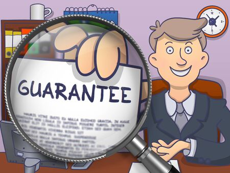 offiice: Guarantee. Business Man Sitting in Offiice and Shows through Magnifier Text on Paper. Colored Doodle Style Illustration. Stock Photo