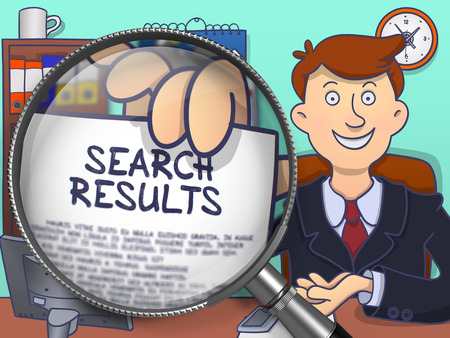 search results: Business Man in Office Holding a Concept on Paper Search Results. Closeup View through Magnifier. Multicolor Doodle Style Illustration. Stock Photo