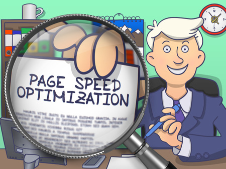 offiice: Officeman Sitting in Offiice and Holding a Paper with Text Page Speed Optimization. Closeup View through Lens. Multicolor Doodle Illustration. Stock Photo