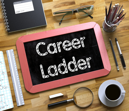 career ladder: Small Chalkboard with Career Ladder Concept. Career Ladder. Business Concept Handwritten on Red Small Chalkboard. Top View Composition with Chalkboard and Office Supplies on Office Desk. 3d Rendering.