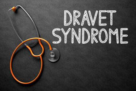 convulsions: Medical Concept: Dravet Syndrome - Medical Concept on Black Chalkboard. Black Chalkboard with Dravet Syndrome - Medical Concept. 3D Rendering.