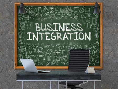 competitividad: Business Integration - dibujado a mano en la pizarra verde en el lugar de trabajo de oficinas moderno. Ilustración con elementos del diseño del Doodle. 3D.