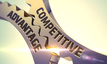 Competitive Advantage Golden Metallic Cogwheels. 3D Render.