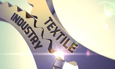 textile industry: Golden Metallic Cog Gears with Textile Industry Concept. 3D Render. Stock Photo