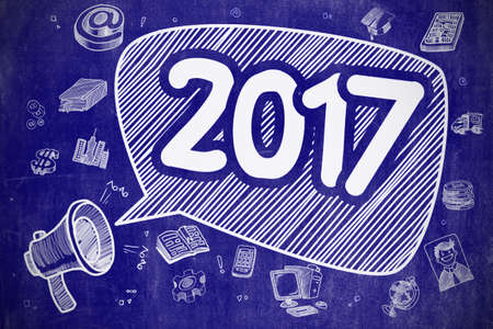 last year: 2017 on Speech Bubble. Cartoon Illustration of Shouting Mouthpiece. Advertising Concept. Speech Bubble with Inscription 2017 Doodle. Illustration on Blue Chalkboard. Advertising Concept.