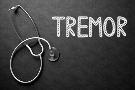 Medical Concept: Tremor Handwritten on Black Chalkboard. Top View of White Stethoscope on Chalkboard. Medical Concept: Tremor on Black Chalkboard. 3D Rendering. Stock Photo