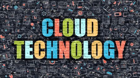 wall cloud: Cloud Technology Concept. Modern Illustration. Multicolor Cloud Technology Drawn on Dark Brick Wall. Doodle Icons. Doodle Style of  Cloud Technology Concept. Cloud Technology on Wall. Stock Photo