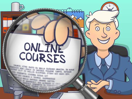 vocational training: Online Courses. Officeman Holds Out a Concept on Paper through Magnifier. Multicolor Modern Line Illustration in Doodle Style. Stock Photo