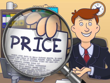 levy: Officeman in Suit Looking at Camera and Showing a Paper with Inscription Price Concept through Magnifying Glass. Closeup View. Colored Modern Line Illustration in Doodle Style. Stock Photo