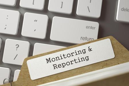 Monitoring en rapportage geschreven op Archief Bookmarks van kaarten Index Concept op Achtergrond van Wit Modern Keypad. Archief Concept. Close-up Beeld. Selectieve Focus. Afgezwakt Illustratie. 3D-rendering.