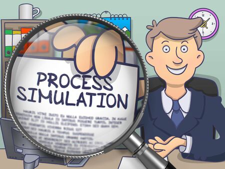 offiice: Businessman Sitting in Offiice and Shows Paper with Concept Process Simulation. Closeup View through Magnifier. Colored Modern Line Illustration in Doodle Style. Stock Photo