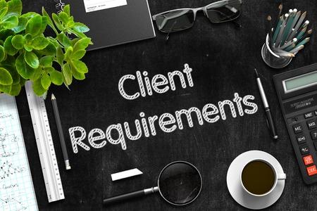 Schwarze Tafel mit Client-Anforderungen. 3D-Rendering. Standard-Bild
