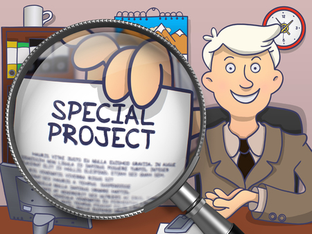 jointly: Special Project on Paper in Mans Hand to Illustrate a Business Concept. Closeup View through Magnifying Glass. Multicolor Modern Line Illustration in Doodle Style.