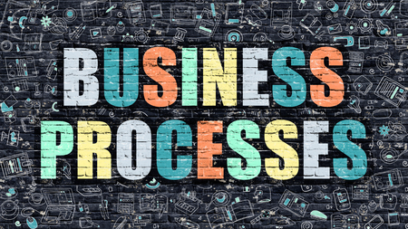 Business Processes Concept. Business Processes Drawn on Dark Wall. Business Processes in Multicolor. Business Processes Concept. Modern Illustration in Doodle Design of Business Processes. Stock Photo