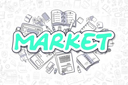 peddle: Business Illustration of Market. Doodle Green Inscription Hand Drawn Cartoon Design Elements. Market Concept. Stock Photo
