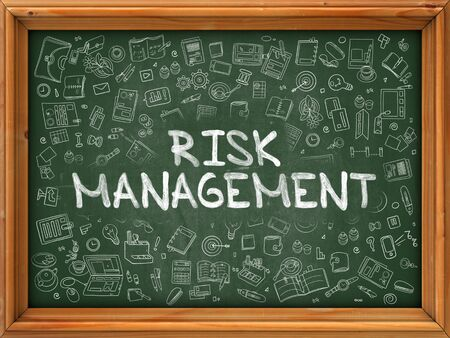 minimization: Hand Drawn Risk Management on Green Chalkboard. Hand Drawn Doodle Icons Around Chalkboard. Modern Illustration with Line Style. Stock Photo